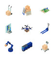 postal facility icons set isometric style vector image vector image