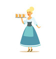 pretty waitress in a blue bavarian traditional vector image