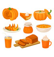 pumpkin dishes set pie jam jar fruitcake vector image vector image