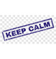 scratched keep calm rectangle stamp vector image