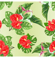 seamless texture tropical flowers lilies vector image