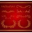 set elegant calligraphic foliate golden borders vector image