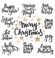 set merry christmas lettering vector image