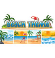 set of beach background vector image