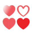 set of Red hearts with halftone effect vector image vector image