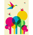 Spring time humming birds and trees vector image
