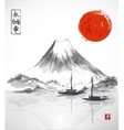 Two fishing boats sun and Fujiyama mountain vector image vector image