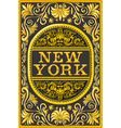 Vintage New York Label Plaque Black and Gold vector image vector image