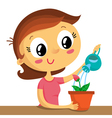 Young woman watering the flower isolated on white vector image