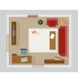 Living room with furniture top view vector image