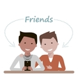 Men Friends are Watching in Smartphone vector image