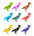 Set of colorful dinosaurs Tyrannosaurus Rex Cute vector image