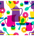 tea time seamless pattern vector image