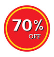 70 off discount price tag isolated vector image vector image
