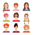 avatar icon set beautiful young girls with vector image vector image