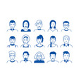 avatar line icons hand drawn people cartoon faces vector image vector image