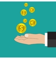 Buisness man hand hold gold coin and stacks vector image