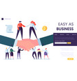 business partnership concept landing page vector image