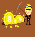 Businessman standing with big coincartoon style