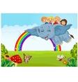 Cartoon little kid on the rainbow vector image vector image