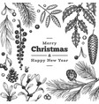 christmas hand drawn greeting card template vector image vector image