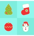 Christmas icons on a blue background vector image vector image