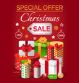 christmas sale special offer in december on gift vector image vector image