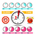 clocks time icons five to fifty minutes clock vector image vector image