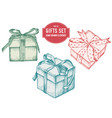 collection of hand drawn pastel gift boxes vector image