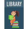 cute girl sits on pile of literature in library vector image