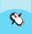 cute penguin sleep in water vector image vector image