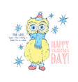 cute yellow owl bird wish you a happy valentines vector image vector image