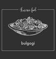delicious bulgogi in bowl from traditional korean vector image vector image