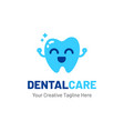 dentist logo with teeth and happy face vector image vector image