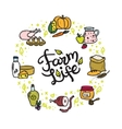 farm food doodle circle frame with hand vector image