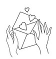 female hands holding love letter valentines day vector image