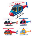 five different designs of helicopters vector image