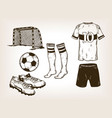 football soccer equipment engraving vector image vector image