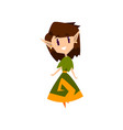 forest elf girl in green dress cute fairytale vector image