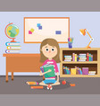 girl with education books supplies in the vector image vector image