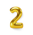 golden number balloon 2 two realistic 3d vector image