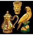 Golden vase jar and figurine parrot vector image vector image