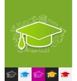 Graduation paper sticker with hand drawn elements vector image