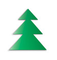 green christmas tree soft shadow on white vector image
