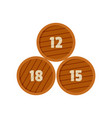 group of wooden barrel icon flat style vector image vector image