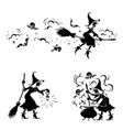 halloween detailwitch and creepy ghost making mag vector image vector image