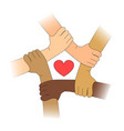 hands of different races with heart vector image vector image