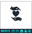 Heart in hand icon flat vector image vector image