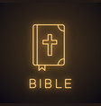 holy bible neon light icon vector image