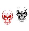 Human skull for horror or halloween vector image vector image